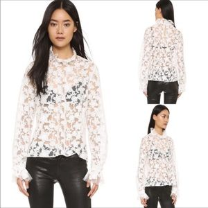 Alexis Embroidered Lace Ruffled Mock Neck Top